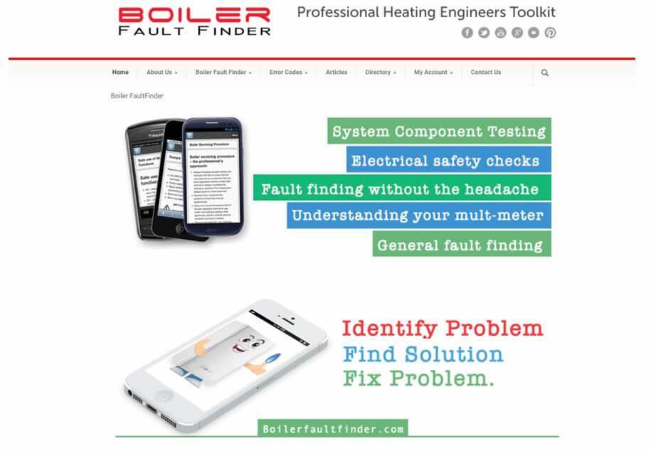 Boiler Fault Finder Website Screenshot