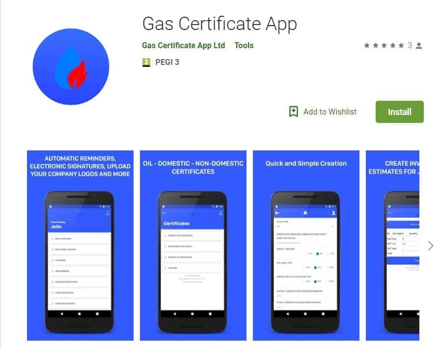 Gas Certificate App - Google Play Screenshot