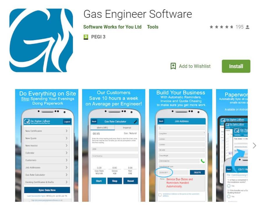 Gas Engineer Software App Google Play Listing Screenshot