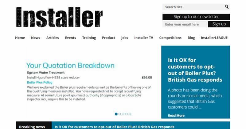 Installer Online Website Screenshot