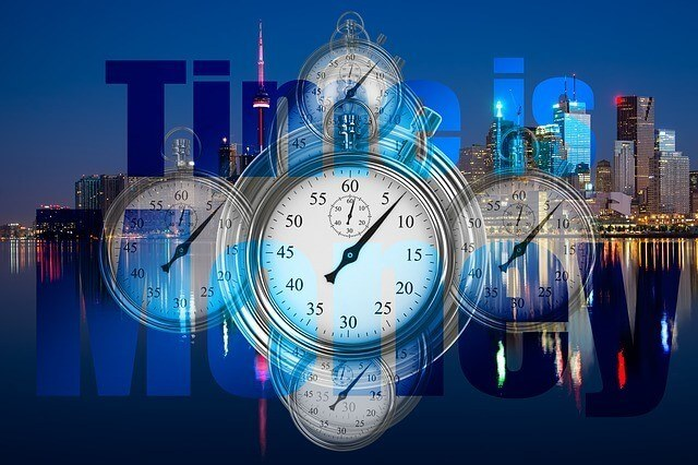 Time is Money (image of skyscrapers and clocks)